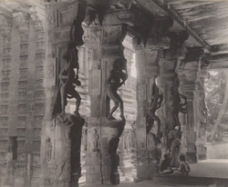 [Carved pillars inside the Viravasantaraya mandapa,] Madura.